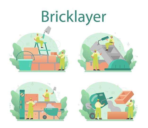 Conjunto de conceito de pedreiro. construtor profissional construindo uma parede de tijolos com ferramentas e materiais.