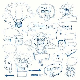 Conjunto de conceito de pensamento criativo doodles. ideia de negócio, solução, criatividade e sucesso.