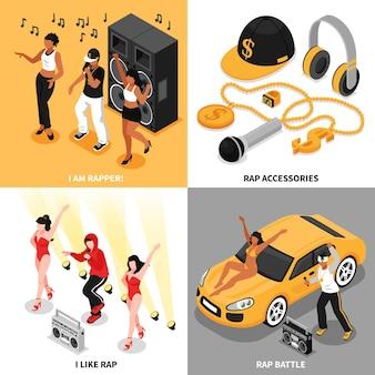 Conjunto de conceito de rap 2x2 de acessórios de música rappers cantando batalhas e fãs composições quadradas isométricas