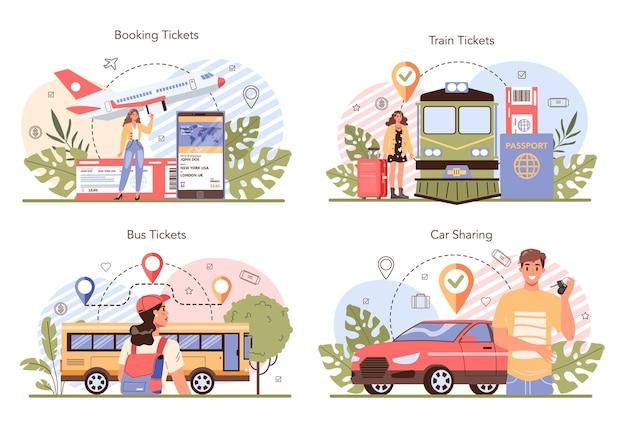 Conjunto de conceito de reserva de viagem