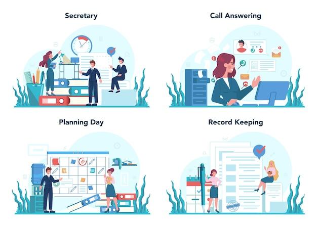 Conjunto de conceito de secretário. recepcionista atendendo ligações e auxiliando