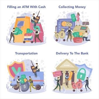 Conjunto de conceito de segurança de caminhão blindado de dinheiro. coleta e transporte de dinheiro