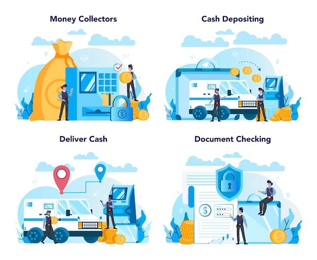 Conjunto de conceito de segurança de caminhão de dinheiro blindado