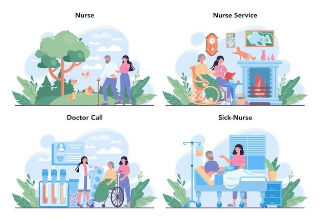 Conjunto de conceito de serviço de enfermagem