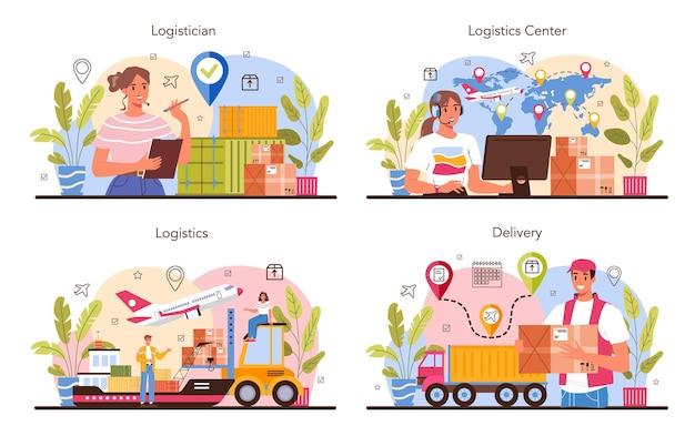 Conjunto de conceito de serviço de logística e entrega. ideia de transporte e distribuição. carregador de uniforme entregando uma carga. conceito de serviço de transporte. ilustração plana isolada