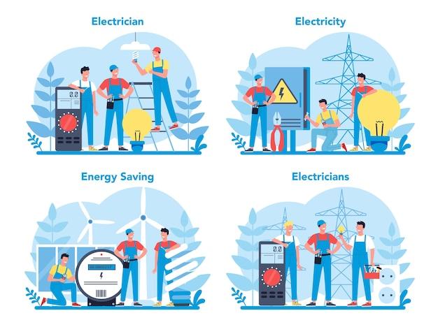 Conjunto de conceito de serviço de obras de eletricidade. trabalhador profissional no elemento elétrico de reparo uniforme. reparação técnica e economia de energia.