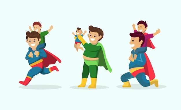 Conjunto de conceito de super pai com fantasia de pose de mascote