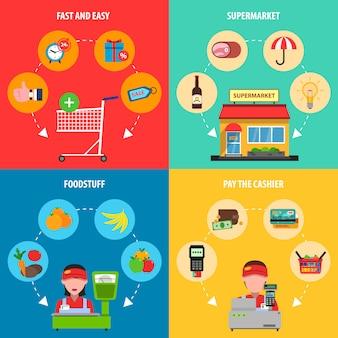 Conjunto de conceito de supermercado