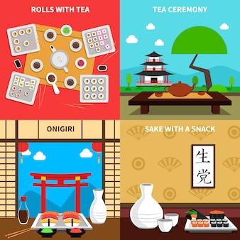 Conjunto de conceito de sushi