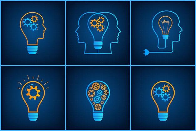 Conjunto de conceito de trabalho em equipe criativa lâmpada cabeça de engrenagem
