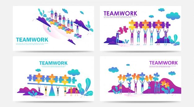 Conjunto de conceito de trabalho em equipe de página de destino e página da web com quebra-cabeça por funcionário da empresa