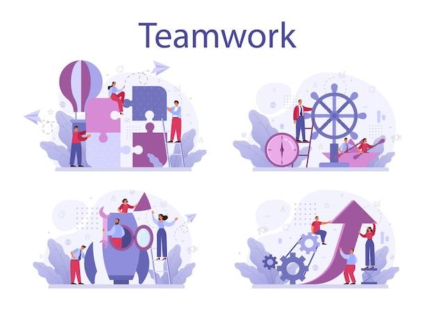 Conjunto de conceito de trabalho em equipe empresarial