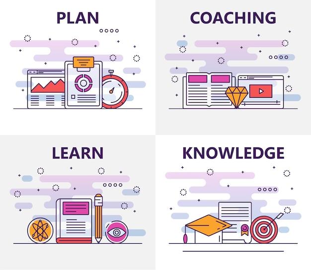 Conjunto de conceito de treinamento de design plano de linha fina