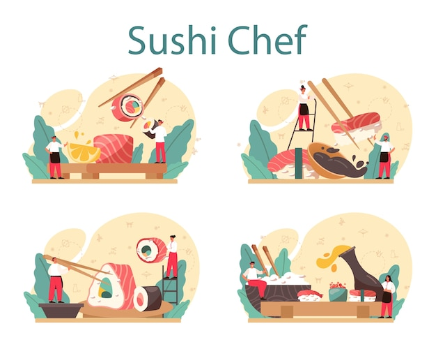 Conjunto de conceito do chef de sushi.