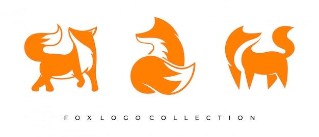 Conjunto de conceito do logotipo de raposa.