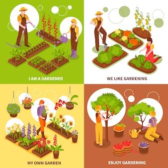 Conjunto de conceito isométrico de jardinagem