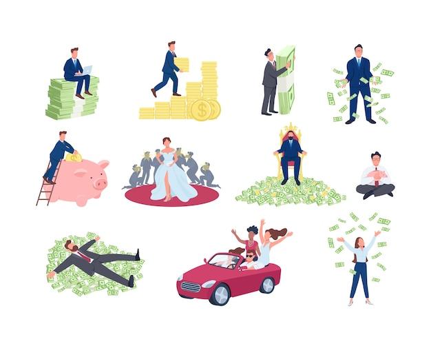 Conjunto de conceito plano de pessoas ricas e bem-sucedidas. sucesso financeiro. homens e mulheres com uma pilha de dinheiro. personagens de desenhos animados 2d para coleção de web design. ideia criativa de riqueza