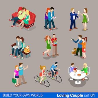Conjunto de conceito plano isométrico casal apaixonado.