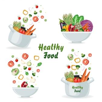 Conjunto de conceitos com legumes