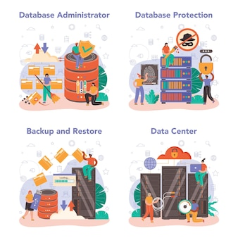 Conjunto de conceitos de administrador de banco de dados. gerente trabalhando em data center. proteção de dados, backup e restauração. tecnologia da computação moderna, profissão de ti. ilustração vetorial plana