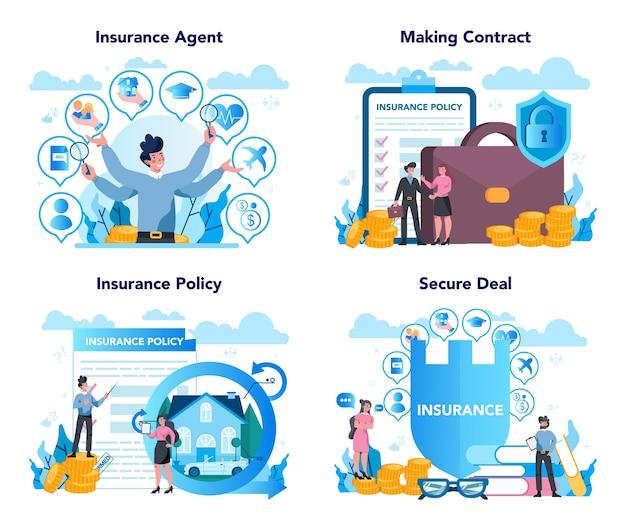 Conjunto de conceitos de agente de seguros