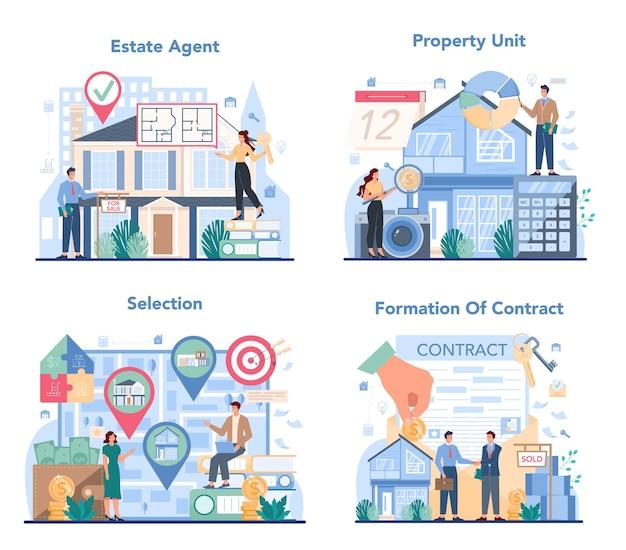 Conjunto de conceitos de agente imobiliário ou corretor de imóveis qualificado