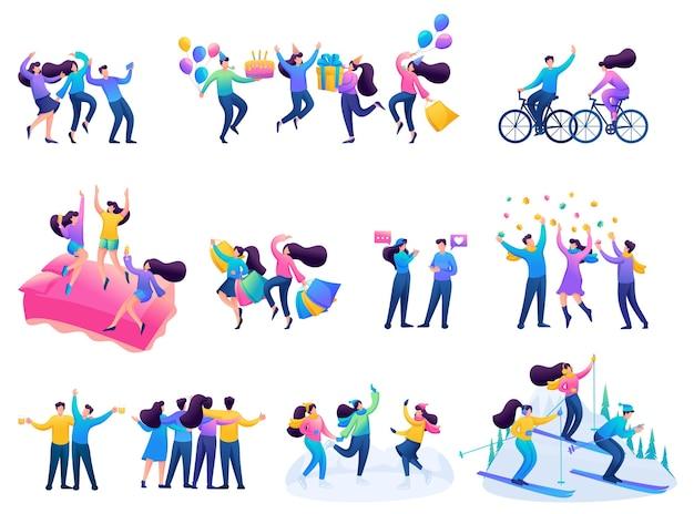 Conjunto de conceitos de amizade, conhecer amigos, alegrar-se, divertir-se, felicidade.