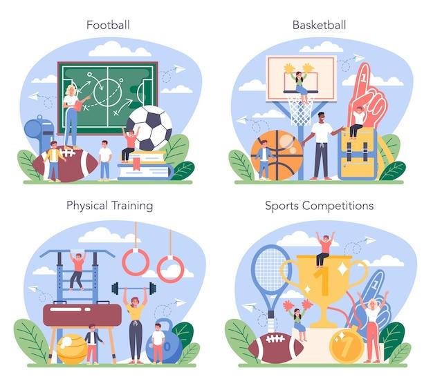 Conjunto de conceitos de aula de educação física ou esporte escolar