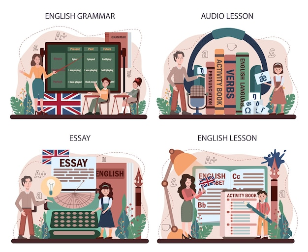 Conjunto de conceitos de aula de inglês. estudar vocabulário estrangeiro. ilustração vetorial plana
