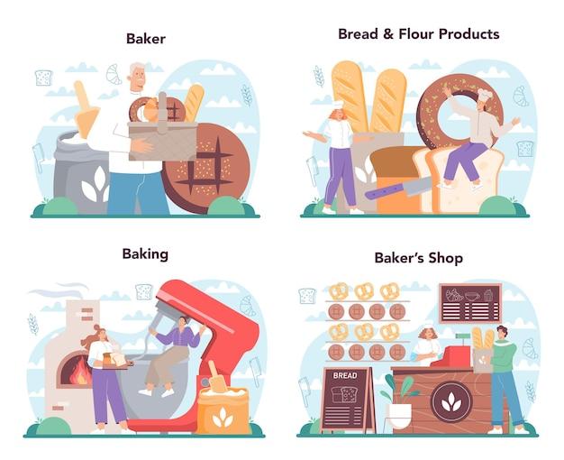 Conjunto de conceitos de baker. chef de uniforme assando pão. processo de cozedura de pastelaria.