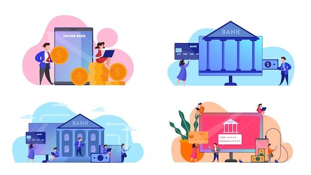 Conjunto de conceitos de banner de web de banco online. fazendo operações financeiras