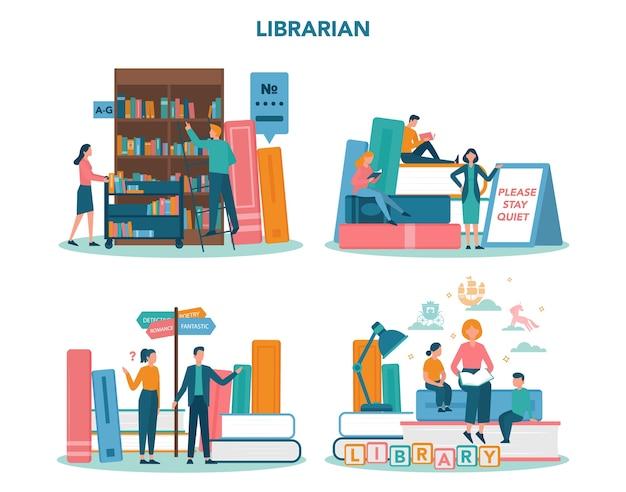 Conjunto de conceitos de bibliotecário. equipe da biblioteca segurando e classificando o livro. conhecimento e ideia de educação. llibrary bookshelves guid. ilustração vetorial isolada