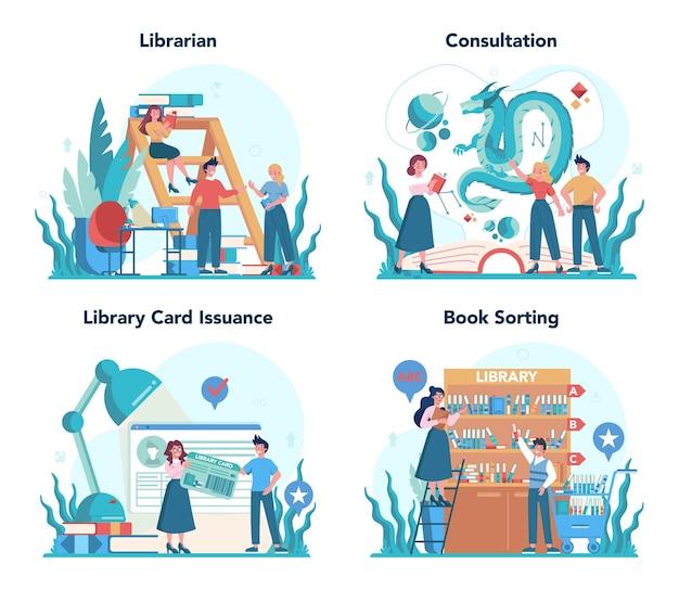 Conjunto de conceitos de bibliotecário. equipe da biblioteca segurando e classificando o livro.