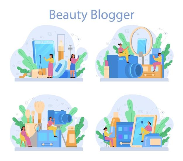 Conjunto de conceitos de blogueiro de beleza em vídeo. celebridade da internet na rede social. popular blogueira fazendo maquiagem.