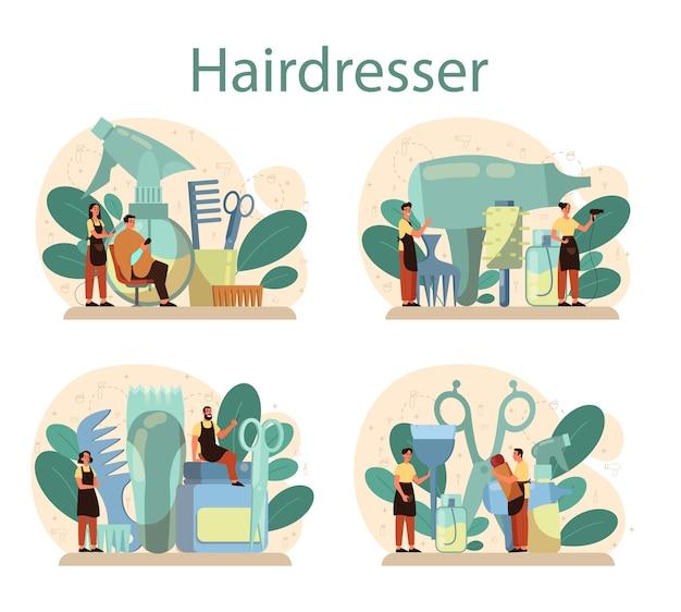 Conjunto de conceitos de cabeleireiro. idéia de cuidados com os cabelos no salão. tesoura e escova