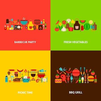 Conjunto de conceitos de churrasqueira. ilustração em vetor design plano. cartazes de churrasco.
