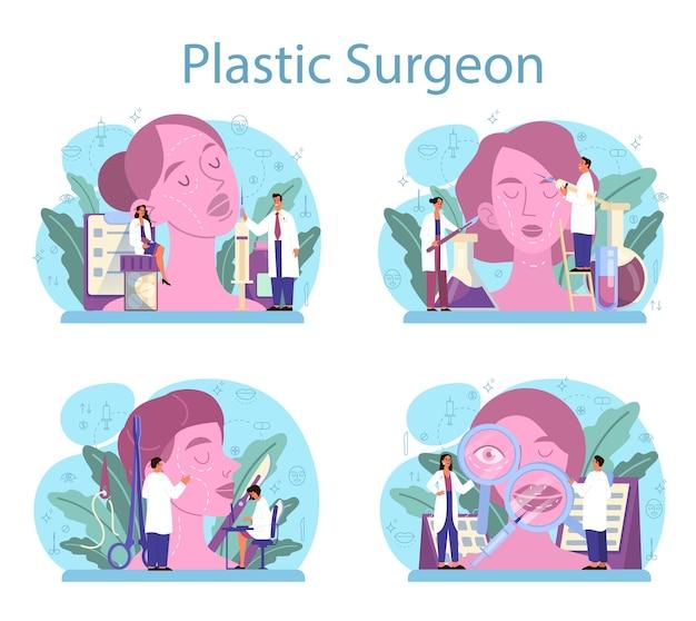 Conjunto de conceitos de cirurgião plástico. ideia de correção corporal e facial.