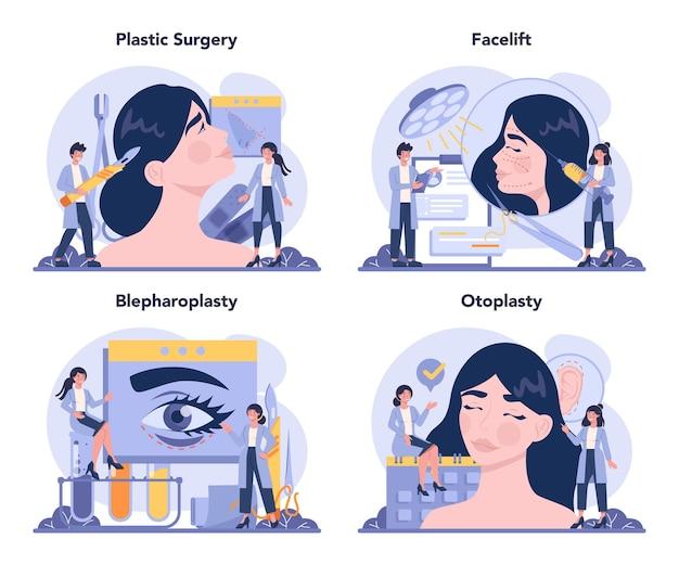 Conjunto de conceitos de cirurgião plástico