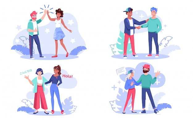Conjunto de conceitos de comunicação de pessoas multiétnicas. homem mulher amiga de nacionalidade diferente dando mais cinco, falando, apertando a mão, cumprimentando, compartilhando notícias, tendo uma boa conversa. diversidade de amizade