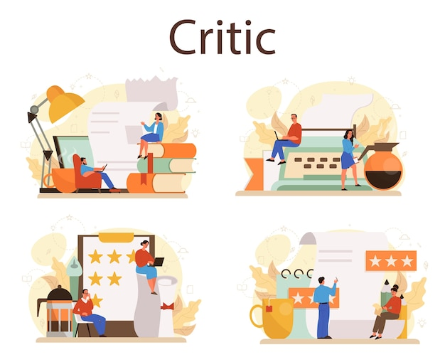 Conjunto de conceitos de crítico profissional. jornalista fazendo resenhas e classificando alimentos e literatura. passatempo ou profissão criativa. ilustração vetorial plana