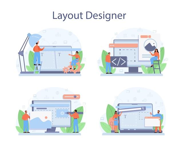 Conjunto de conceitos de designer de layout.