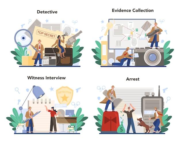Conjunto de conceitos de detetive profissional