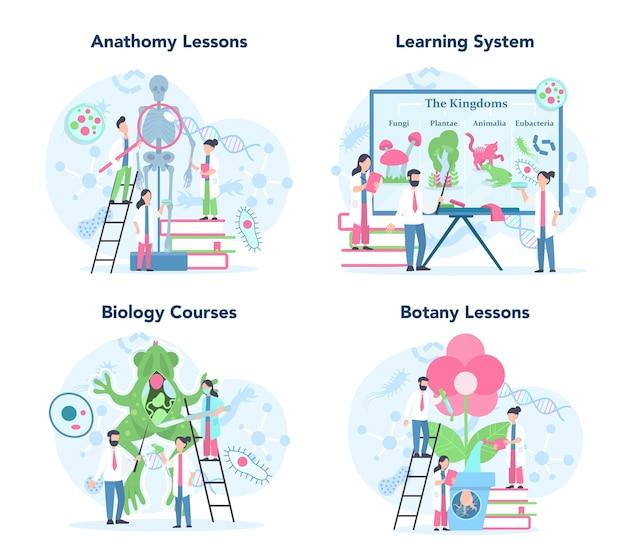 Conjunto de conceitos de disciplina de escola de biologia. cientista explorando humanos e a natureza. aula de anatomia e botânica. ideia de educação e experiência.
