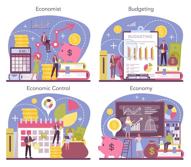 Conjunto de conceitos de economista. cientista profissional estudando economia e dinheiro. ideia de controle econômico e orçamento. capital de negócios.