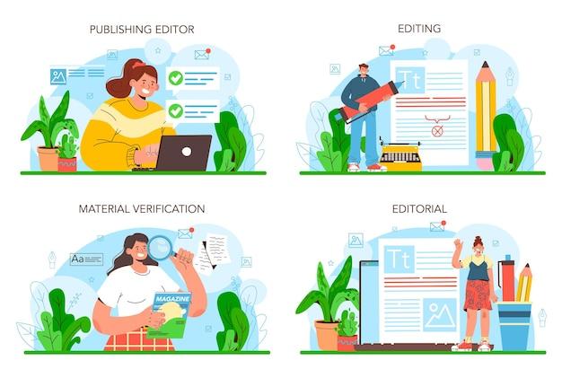Conjunto de conceitos de editor de publicação. jornalista trabalhando em artigo de revista.