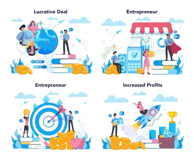 Conjunto de conceitos de empreendedor. ideia de negócio lucrativo, estratégia