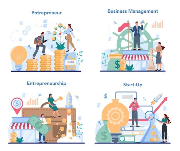 Conjunto de conceitos de empreendedor