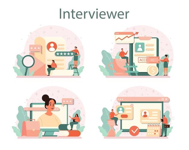 Conjunto de conceitos de entrevista de emprego. idéia de emprego e contratação