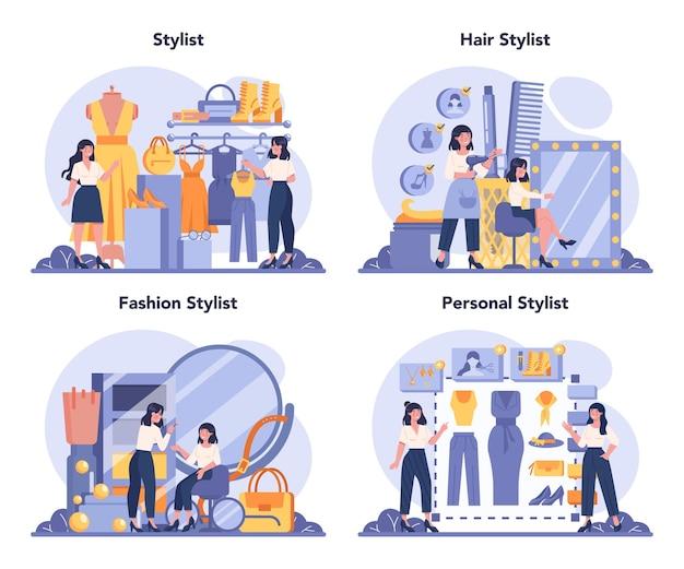 Conjunto de conceitos de estilista de moda