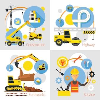 Conjunto de conceitos de etiqueta de construção, terraplenagem, rodovia, serviço